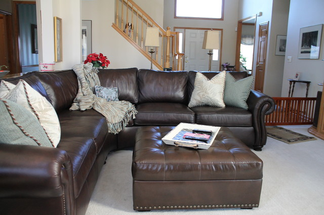 Full Grain Leather Sofa Family Room Transitional with Blue and Brown Fireplace2