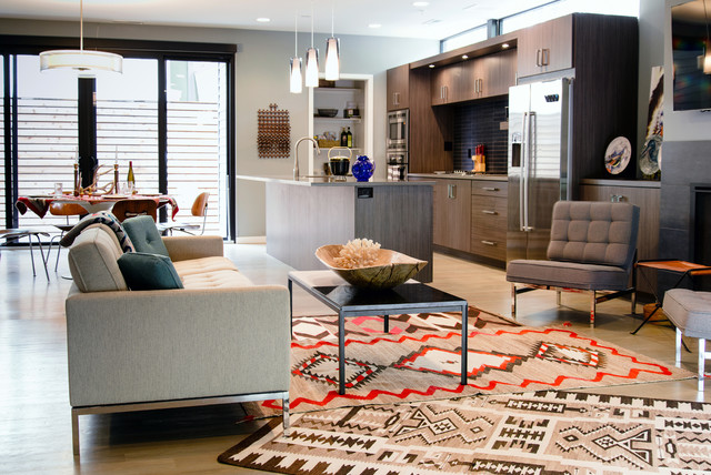 Full Grain Leather Sofa Kitchen Contemporary with Aztec Rug Contemporary Design