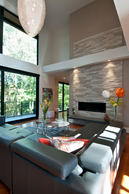 Full Grain Leather Sofa Living Room Contemporary with Cantilevered Fireplace Hearth Erthcoverings