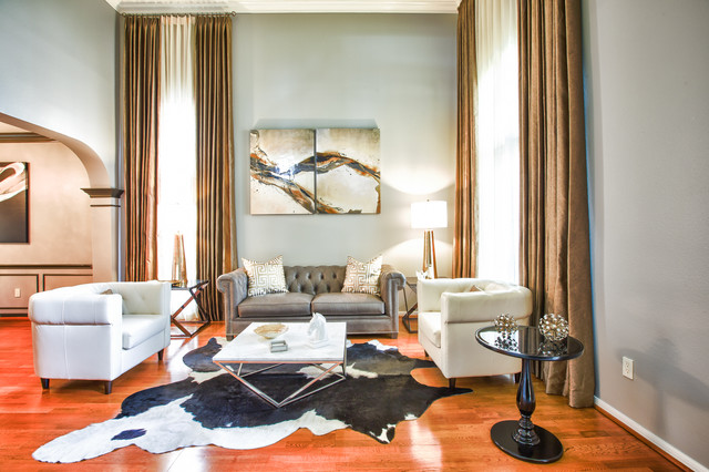 Full Grain Leather Sofa Living Room Transitional with Abstract Art Accent Chairs
