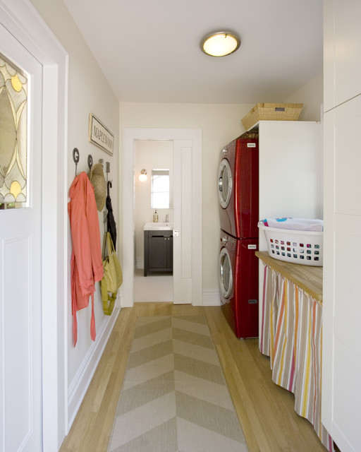 full size stackable washer and dryer Laundry Room Contemporary with baseboards ceiling lighting coat