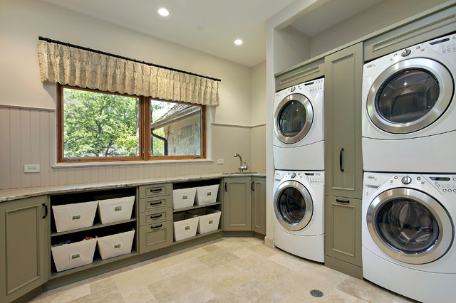 Full Size Stackable Washer and Dryer Laundry Room Traditional with Basket Storage Beige Bead
