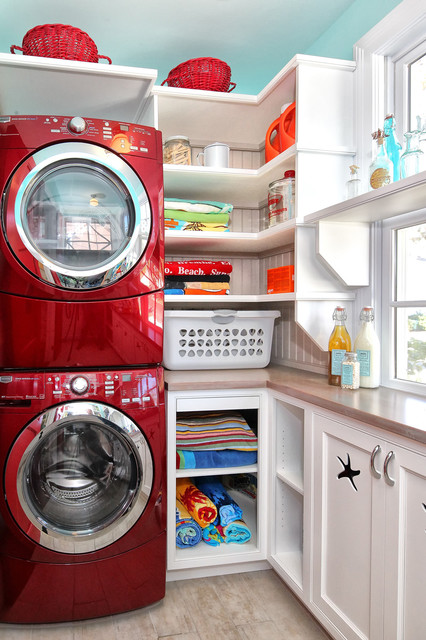 Full Size Stackable Washer and Dryer Laundry Room Traditional with Beach House Beadboard Built In
