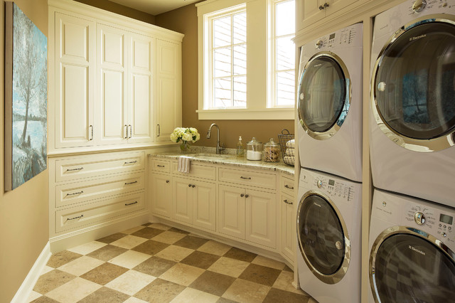 Full Size Stackable Washer and Dryer Laundry Room Traditional with Beige Beige Floor Brown