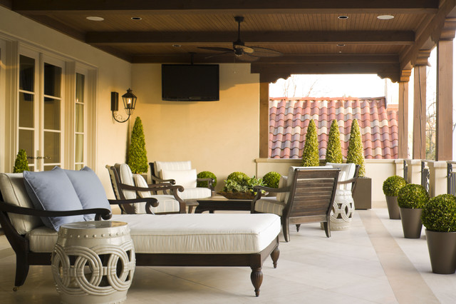 Furniture Land South Deck Mediterranean with Ceiling Fan Covered Balcony