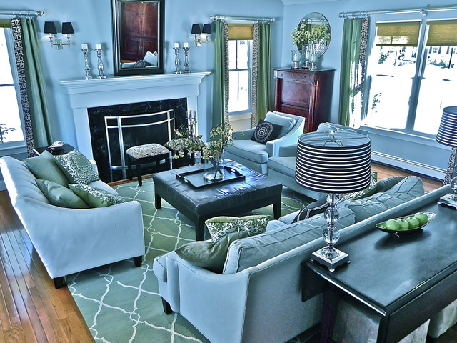 Furniture Land South Family Room Traditional with Area Rug Baseboards Blue