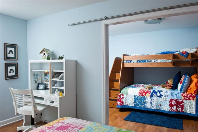 Furniture Land South Kids Contemporary with Barn Door Bedroom Bunk