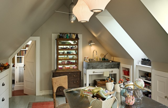 Furnitures Stores Home Office Traditional with Ceiling Fan Concrete Sink