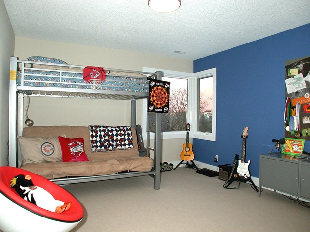 Futon Couch Bed Kids Contemporary with Accent Wall Bedroom Bunk