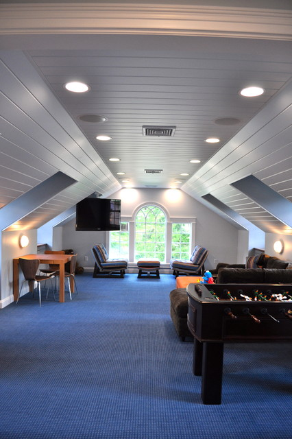 Futon Couches Family Room Traditional with Arch Attic Blue Carpet