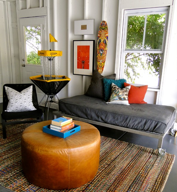 Futon Couches Living Room Contemporary with Books Deer Head Exposed