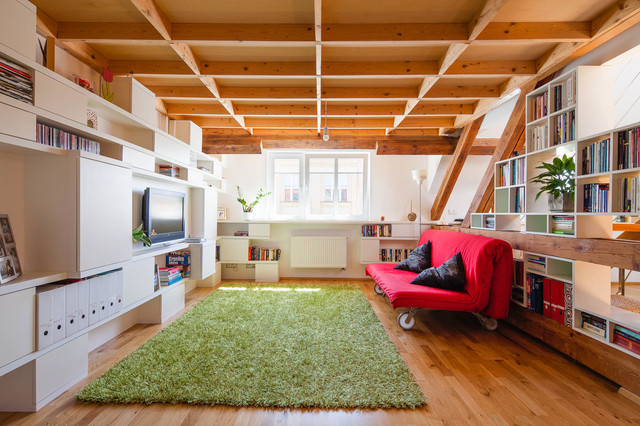 futon ikea Family Room Eclectic with beam ceiling bookcases bookshelves