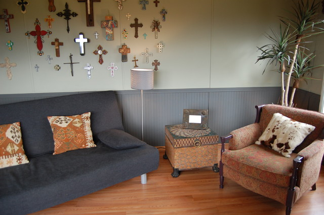 Futon Ikea Family Room Eclectic with Charcoal Cow Hide Pillows2