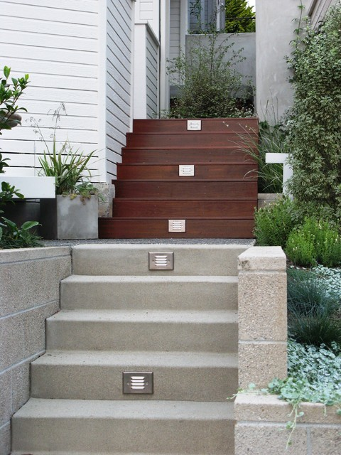 fx luminaire Landscape Contemporary with colored concrete container plants
