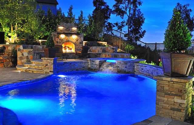fx luminaire Pool Traditional with Entertaining fence Fireplace iron