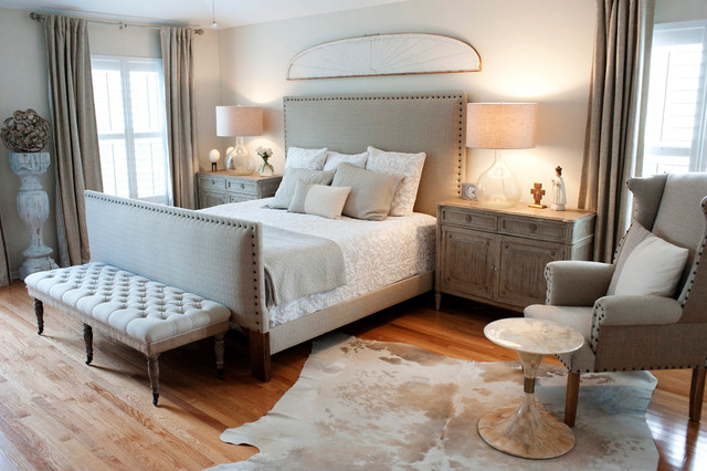Gabby Furniture Bedroom Transitional with Cowhide Rug Distressed Glass