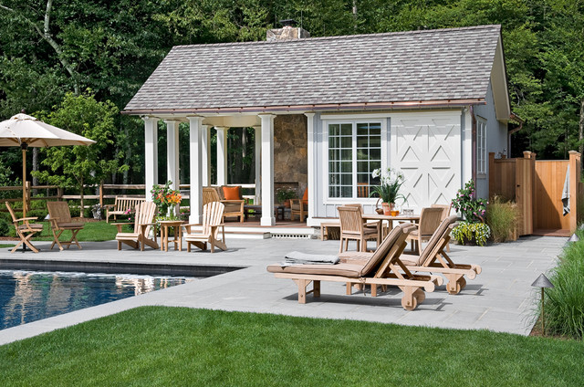 Gaf Timberline Hd Pool Farmhouse with Adirondack Chairs Changing Area