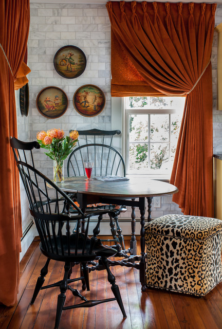 Gateleg Table Kitchen Farmhouse with Orange Velvet Curtains Round