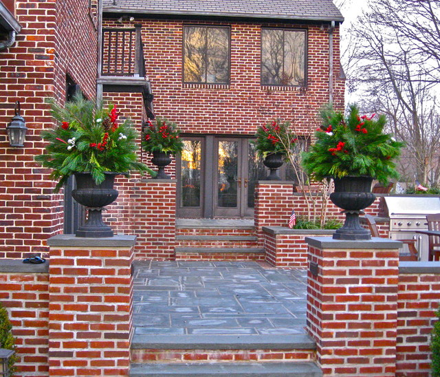 General Shale Brick Exterior Traditional with Concrete Patio Concrete Stairs