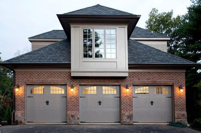 general shale brick Garage And Shed Traditional with bay window brick siding