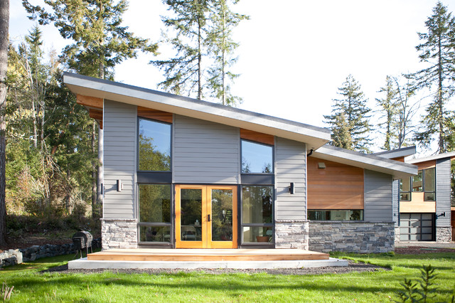 Georgia Pacific Vinyl Siding Exterior Contemporary with Glass Door Grass Gray