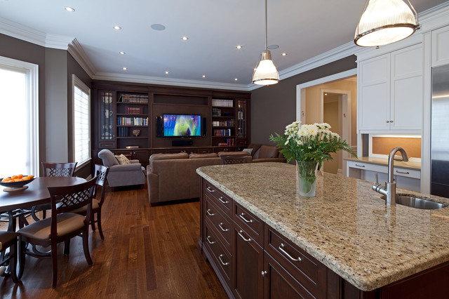 Giallo Ornamental Kitchen Traditional with Cabinetry Dark Wood Dark