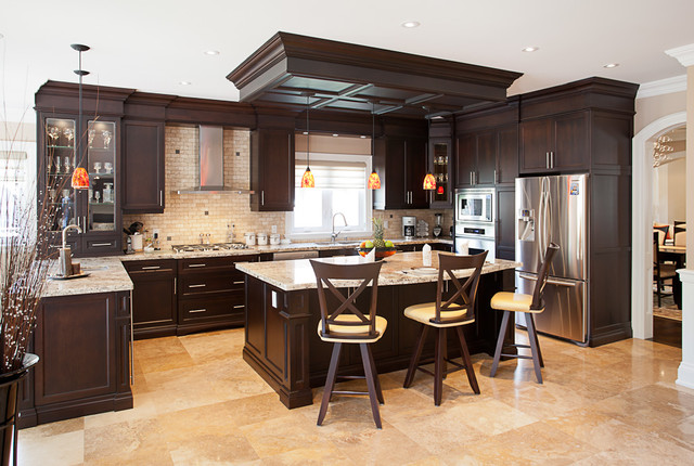 Giallo Ornamental Kitchen Traditional with Beige Counter Stools Dark