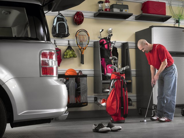 Gladiator Garageworks Garage and Shed Contemporary with Ball Caddy Flooring Geartrack