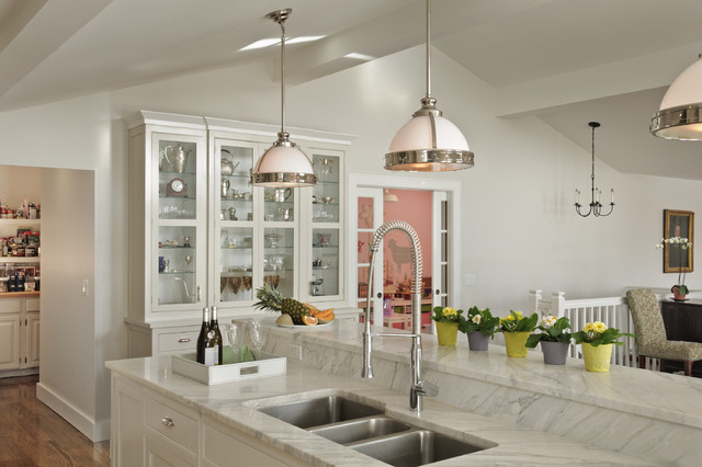 Glass Curio Cabinets Kitchen Traditional with Addition Bright Kitchen Country