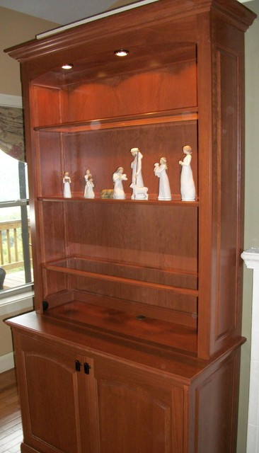 Glass Curio Cabinets Living Room Contemporary with American Solid Wood Armoires