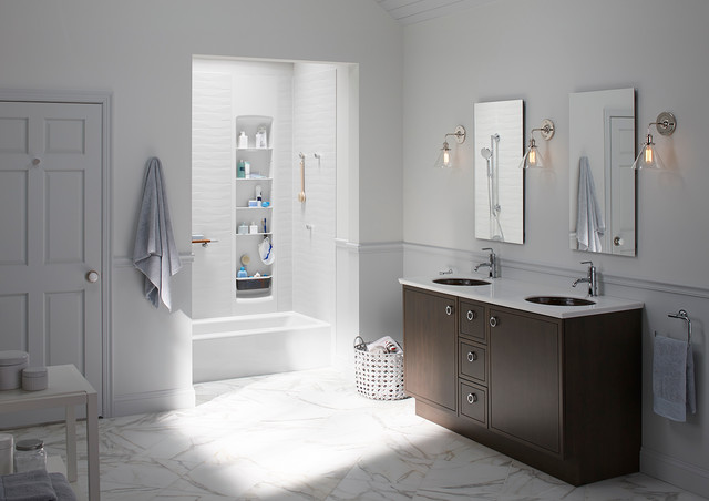 Glass Soap Dispenser Spaces Transitional with Bath Tub Bathroom Family