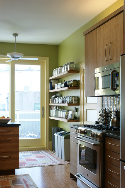 Glass Spice Jars Kitchen Traditional with Bamboo Bright Colors Ceiling