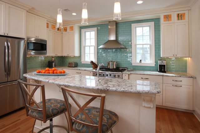 Glass Subway Tile Kitchen Contemporary with Crown Molding Glossy Backsplash