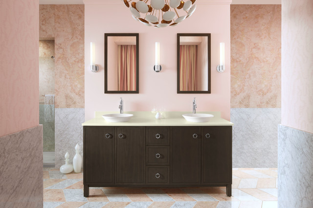 Glass Vessel Sinks Bathroom Contemporary with Chevron Tile Custom Made Double
