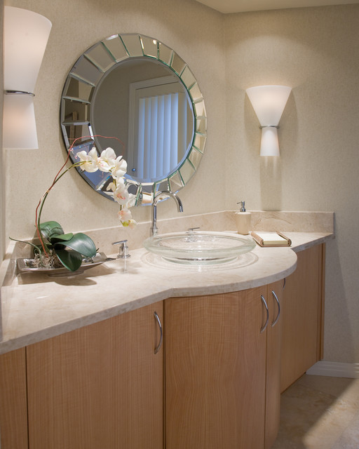 Glass Vessel Sinks Bathroom Contemporary with Beveled Mirror Curve Custom1