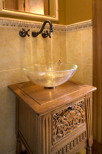 glass vessel sinks Bathroom Traditional with accent tiles antique washbasin