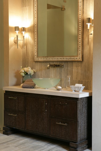 Glass Vessel Sinks Bathroom Traditional with Dark Vanity Cabinets Frosted
