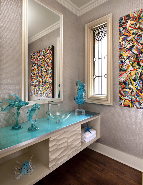 Glass Vessel Sinks Powder Room Contemporary with Above Counter Sink Abstract