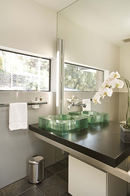 Glass Vessel Sinks Powder Room Modern with Full Length Mirror Glass