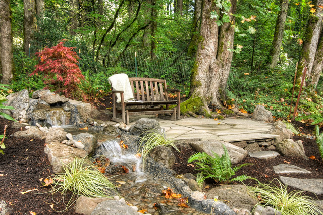 Glider Chairs Landscape Rustic with Boulders Creek Ferns Glider