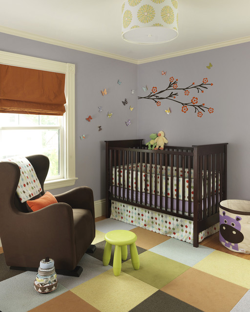 Glider Chairs Nursery Transitional with Area Rug Baseboard Butterflies