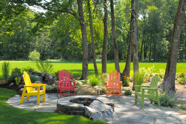 Glider Rocking Chair Patio Traditional with Adirondack Chairs Colorful Fire