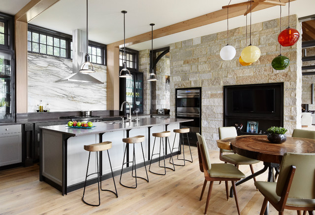 globe pendant light Kitchen Contemporary with clerestory window double oven