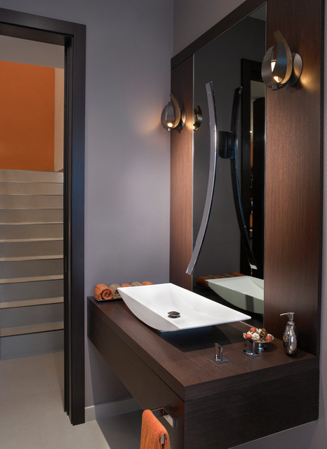 graff faucets Bathroom Contemporary with floating vanity orange accents