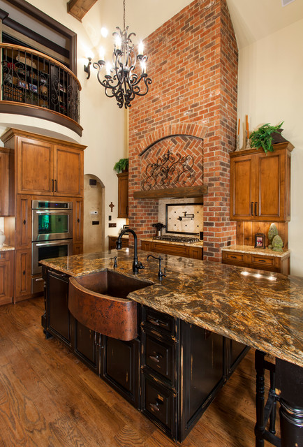 Granite Composite Sinks Kitchen Traditional with Black Island Brick Hood