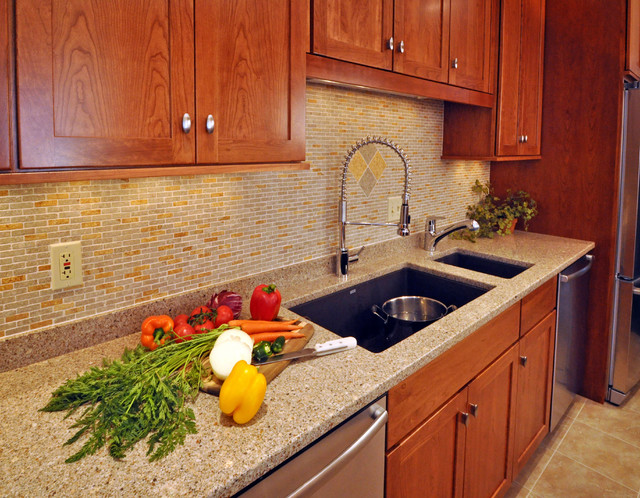 Granite Composite Sinks Kitchen Traditional with Cherry Cabinets Composite Sinks
