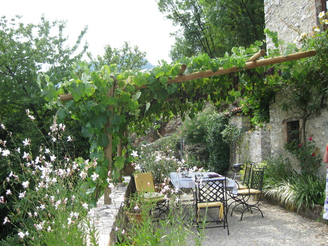 Grape Arbor Patio Mediterranean with Brick Wall Covered Patio
