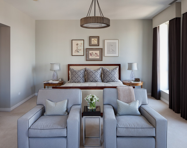 Gray Owl Benjamin Moore Bedroom Traditional with Baseboard Beige Carpet Blue