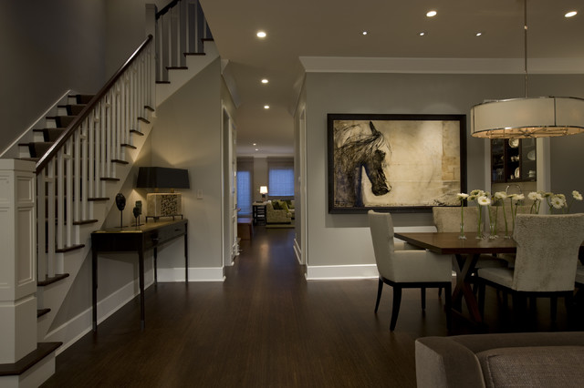 Greige Paint Dining Room Traditional with Artwork Ceiling Lighting Dark