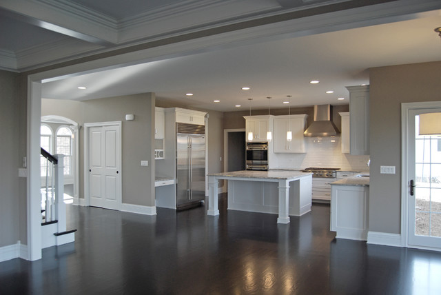 Greige Paint Kitchen Traditional with Island Kitchen Open Plan1